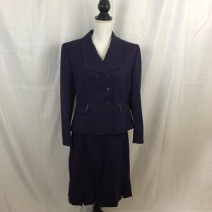 Tahari Wool Blend Purple Skirt Suit 12P